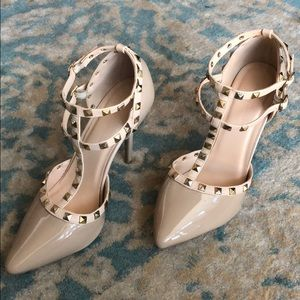 Nude patent strappy heels w/ gold stud accents